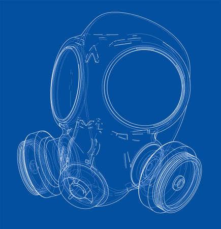 Esbozo de máscara de gas. Ilustración de vector