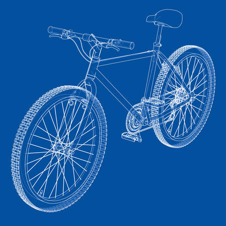 Bicycle. Vector rendering of 3d. Wire-frame style. The layers of visible and invisible lines are separated. Illustration