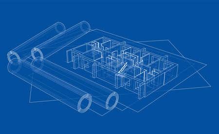 바닥 모형이있는 도면, 파란색 인쇄 일러스트