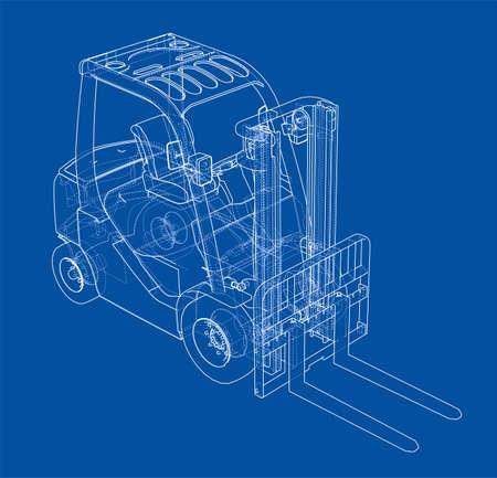 Forklift concept outline illustration.