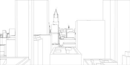 Wire-frame New York City, Blueprint Style