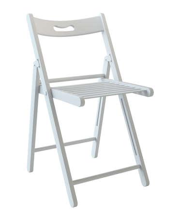 白で隔離の折りたたみ椅子 写真素材