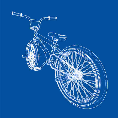 Bicycle bmx. Vector rendering of 3d. Wire-frame style. The layers of visible and invisible lines are separated Illustration