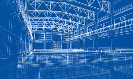 Esquisse de zone industrielle. Rendu vectoriel de 3d. Style de fil de fer. Les couches de lignes visibles et invisibles sont séparées Vecteurs