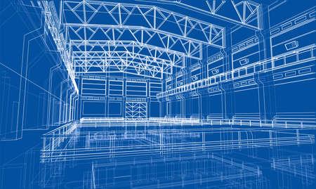 Szkic strefy przemysłowej. Wektorowy rendering 3d. Styl ramek drucianych. Warstwy widocznych i niewidocznych linii są rozdzielone Ilustracje wektorowe