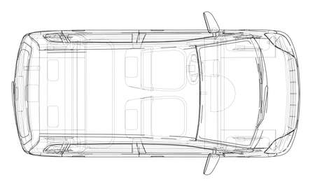 Car sketch. Vector rendering of 3d. Wire-frame style. The layers of visible and invisible lines are separated Vektorové ilustrace