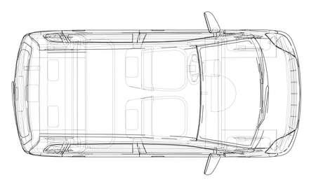 Esbozo de coche. Representación del vector de 3d. Estilo de marco de alambre Las capas de líneas visibles e invisibles están separadas Ilustración de vector