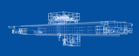 Overhead crane sketch. Vector rendering of 3d. Wire-frame style. The layers of visible and invisible lines are separated