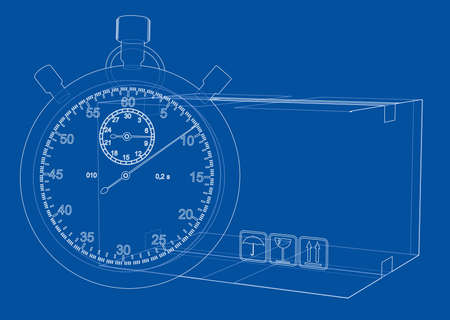 Stopwatch with cardboard box sketch. Vector rendering of 3d. Wire-frame style. The layers of visible and invisible lines are separated Illustration
