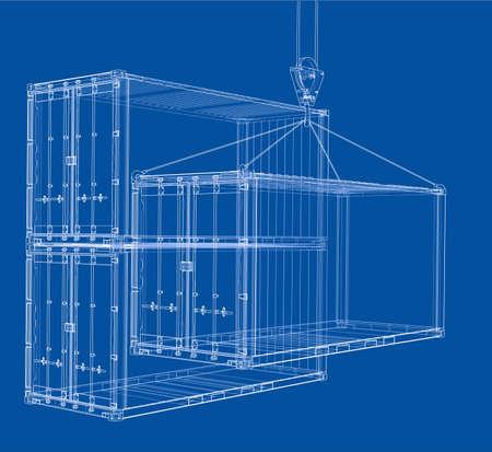 Frachtcontainer. Wire-Frame-Stil. Vektor-Rendering von 3d