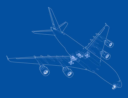 Passenger aircraft. Vector rendering of 3d. Wire-frame style. The layers of visible and invisible lines are separated 向量圖像