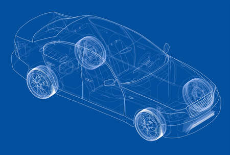 visible: Concept car. Vector rendering of 3d. Wire-frame style.
