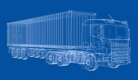 Truck met trailer, in 3d, Wire-frame stijl, De lagen, zichtbare en onzichtbare lijnen zijn gescheiden
