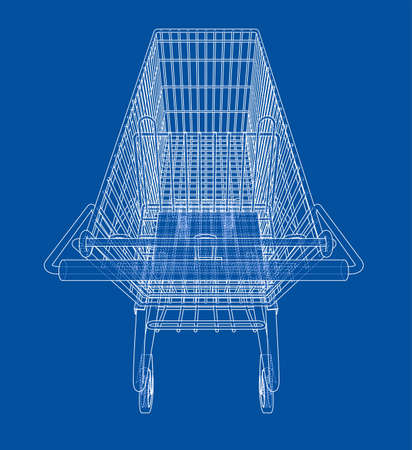 Sketch shopping trolley. Vector Illustration