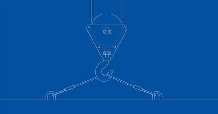 hook up: Crane hook with plate. Vector