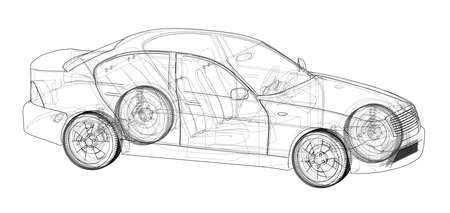Concept car rendering wire-frame style on a white background.