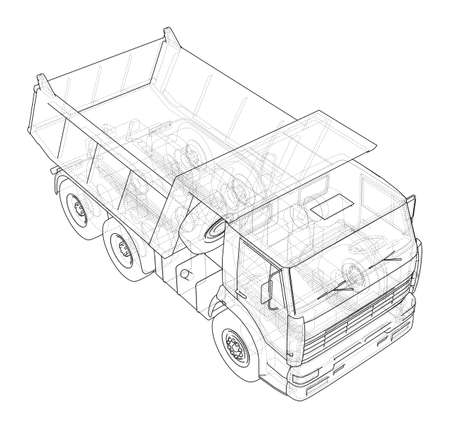 Dump truck rendering wire-frame style on a white background.