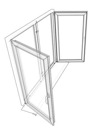 windows frame: Open windows sketch. Vector rendering of 3d. Wire-frame style. The layers of visible and invisible lines are separated