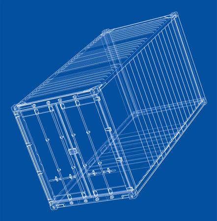 heavy industry: Cargo container. Wire-frame style on a plain background.