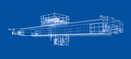 Overhead crane sketch wire-frame style on a blue background.