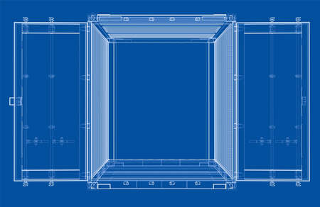 heavy industry: Cargo container. Wire-frame style Illustration