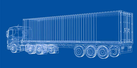 heavy industry: Truck with semitrailer. Vector rendering of 3d. Wire-frame style. The layers of visible and invisible lines are separated