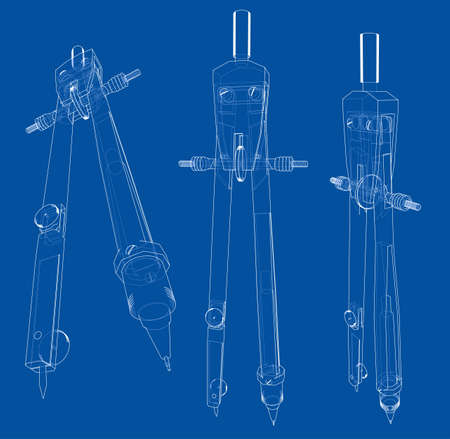 Set of compasses sketch. Vector