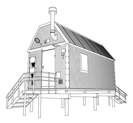 Wire-frame industrial building Illustration