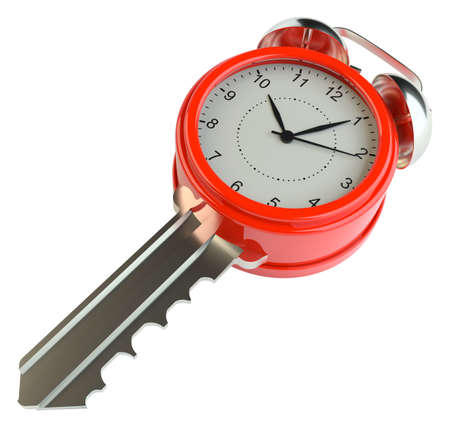 Key with alarm clock. Success concept or concept of housing sales Stock Photo