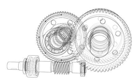 industrial drawing: Gearbox sketch.