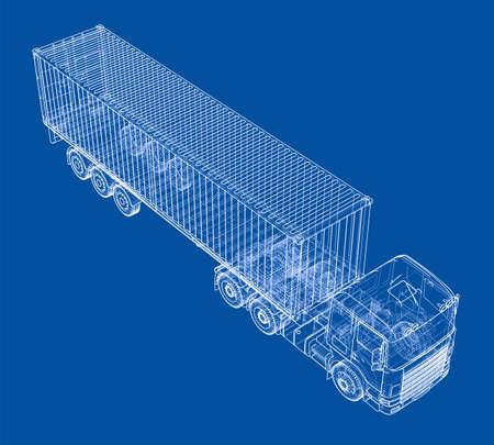 Truck met aanhangwagen Vector Illustratie