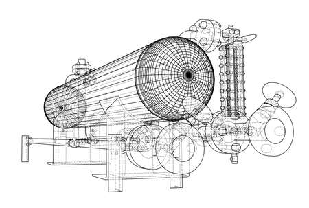 fitting: Wire-frame industrial equipment design illustration.