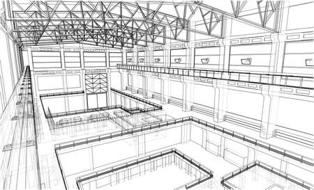 Warehouse sketch illustration, rendering of 3d, Wire-frame style; layers of visible and invisible lines