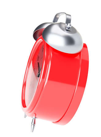 ticker: Red alarm clock. Side view. Isolated Stock Photo