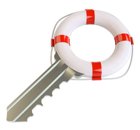 latchkey: Key with lifebuoy. Concept of salvation