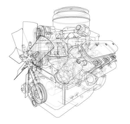 Engine sketch wire-frame style industrial equipment design illustration.