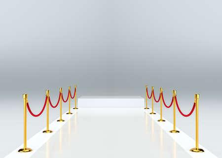 White carpet with barrier. White empty pedestal Stock Photo