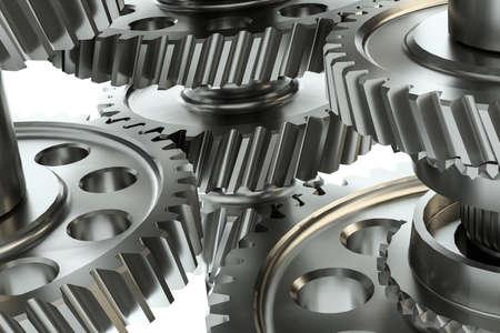 Grote tandwielen in de motor. 3D illustratie Stockfoto - 88193959