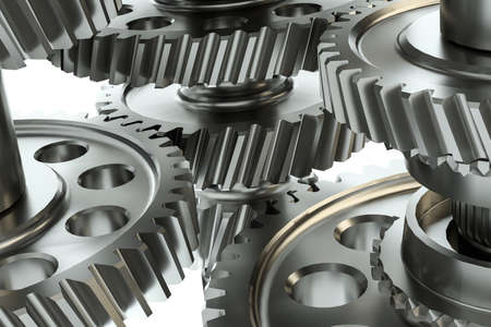 Large cog wheels in the motor. 3d illustration Stock Photo