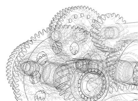 Gearbox sketch. Vector illustration. Illustration
