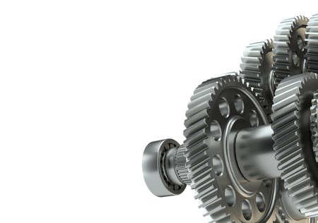 Large cog wheels in the motor. 3d illustration