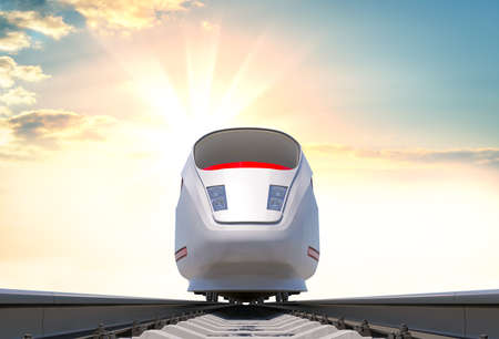 Moderne hogesnelheidstrein op de spoorweg Stockfoto