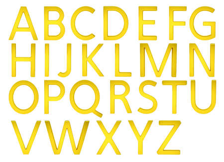 Gold Alphabetic Fonts Stock Photo