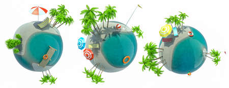 Set of paradise island globe as concept for exotic travel