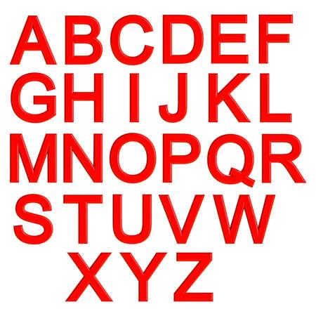 Red 3d letters alphabet, lettering