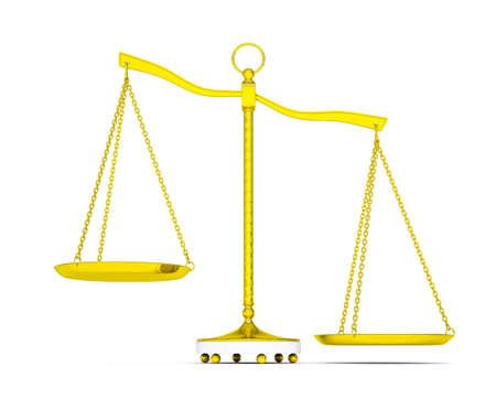 Balance scale over white background Фото со стока