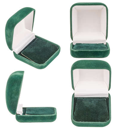 Empty Green Velvet Opened Gift Jewelry Boxes