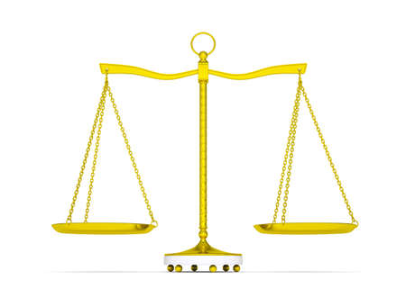 Balance scale over white background Stock Photo