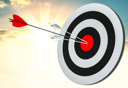 Objetivo golpeado en el centro por flechas