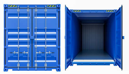 docks: Blue cargo freight container, opened and closed